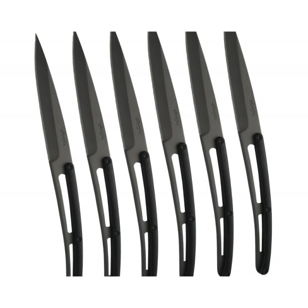 Deejo Set of 6 Deejo steak knives Bistrot, titanium,...